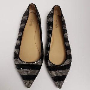 Michael Kors Sequin Striped Pointy Toe Flats, sz 9
